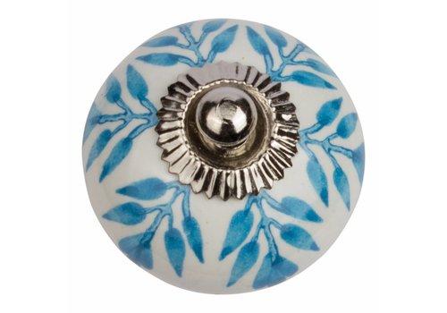 Meubelknop wit blauw blaadjes
