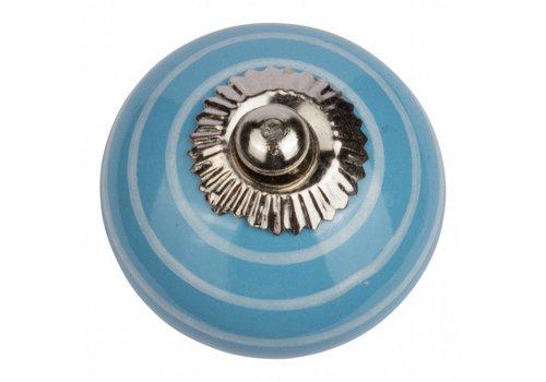 Meubelknop blauw wit gestreept
