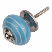 Porseleinen meubelknop blauw wit gestreept