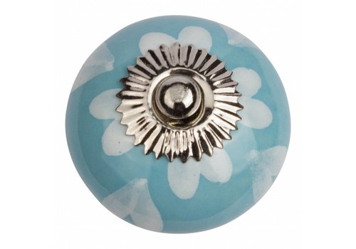 Meubelknop 40mm blauw wit hartjes