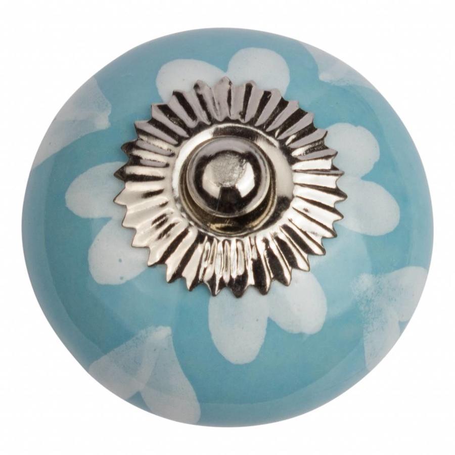 Porseleinen meubelknop blauw wit hartjes