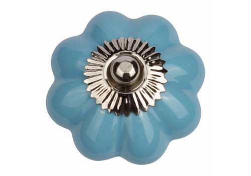 Meubelknop 40mm bloem blauw
