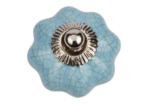 Meubelknop turquoise bloem Craquelé