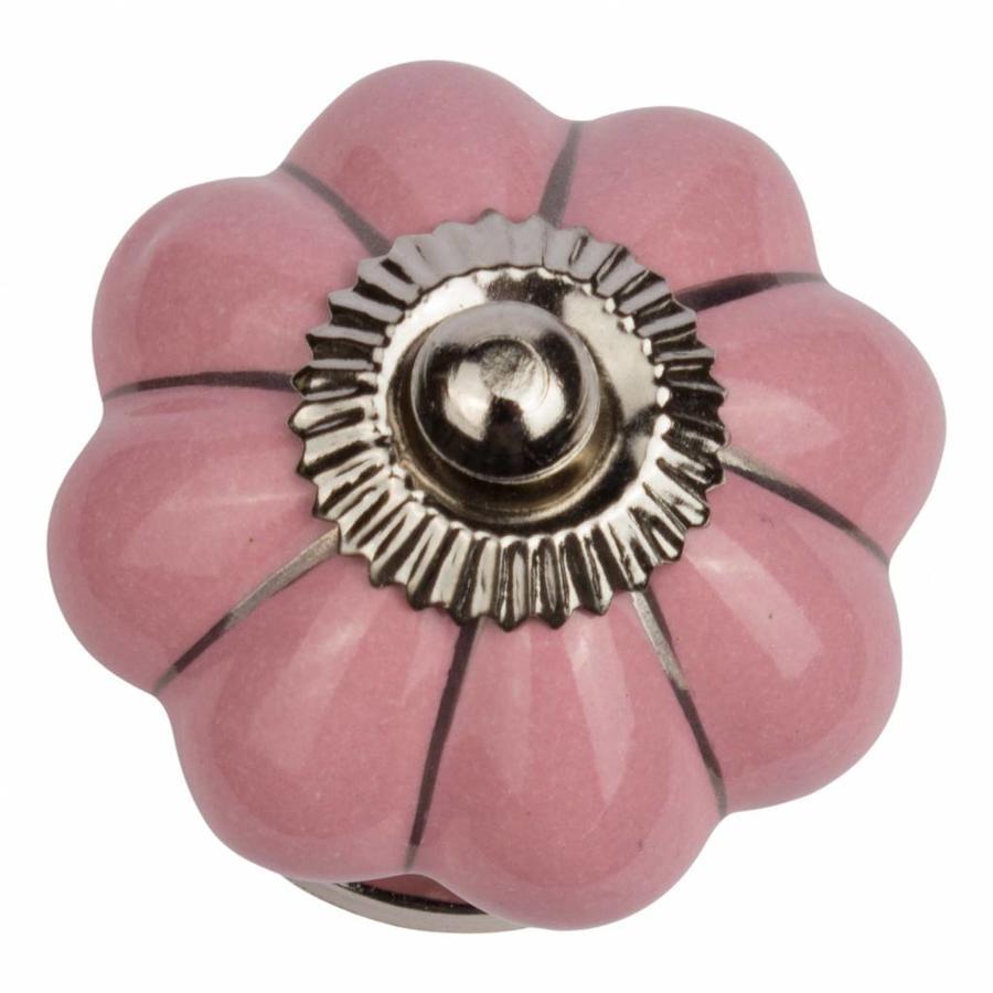 Porseleinen meubelknop roze zilver bloem