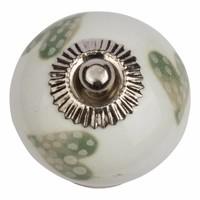 Porseleinen meubelknop wit groen gestippelde hartjes - licht