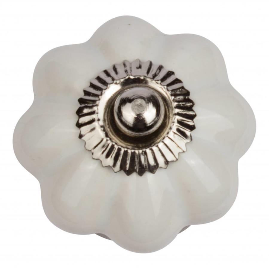 Porseleinen meubelknop wit bloem