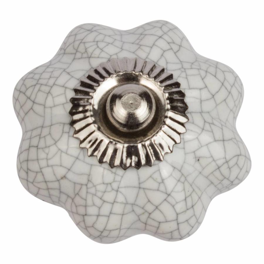 Porseleinen meubelknop wit bloem gekrakeleerd