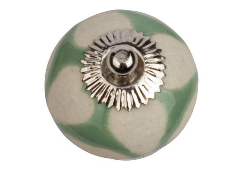 Meubelknop 40mm groen beige hartjes