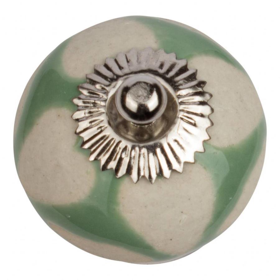 Porseleinen meubelknop groen met beige hartjes