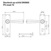 Gietijzeren deurkruk op schild - kastslot - pc-maat 72