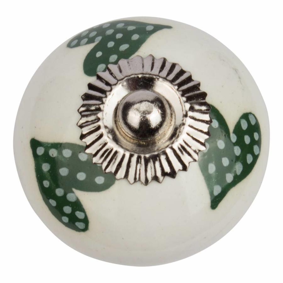 Porseleinen meubelknop wit groen gestippelde hartjes - donker
