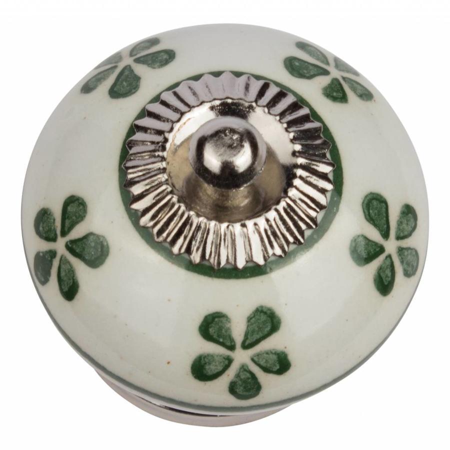 Porseleinen meubelknop wit groen bloemetjes - donker