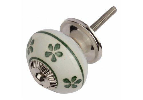 Meubelknop wit groen bloemetjes - donker