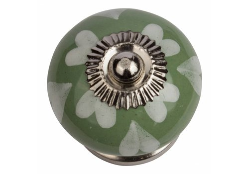 Meubelknop 40mm groen wit hartjes