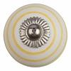 Meubelknop 40mm wit met gele strepen