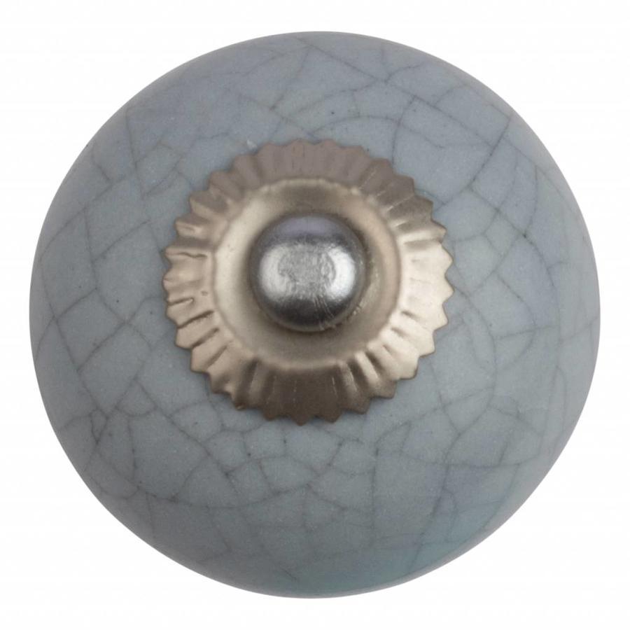 Porseleinen meubelknop lichtgrijs gekrakeleerd - fijn - CK4071
