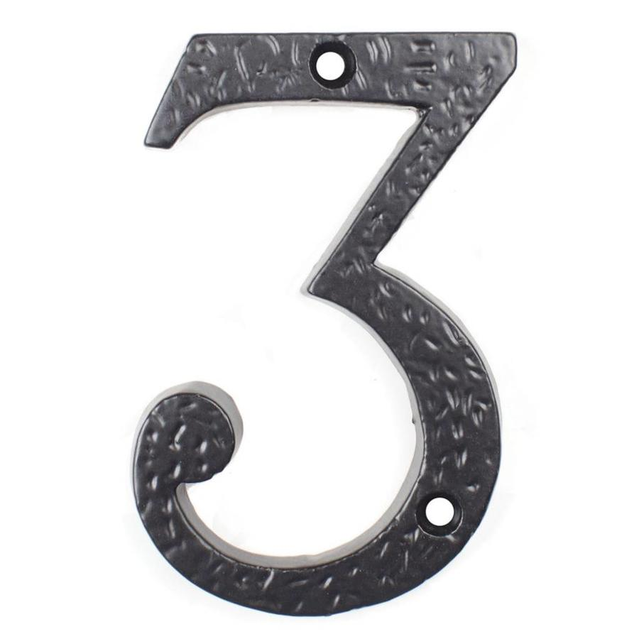 Gietijzeren huisnummer 3, zwart gelakt.
