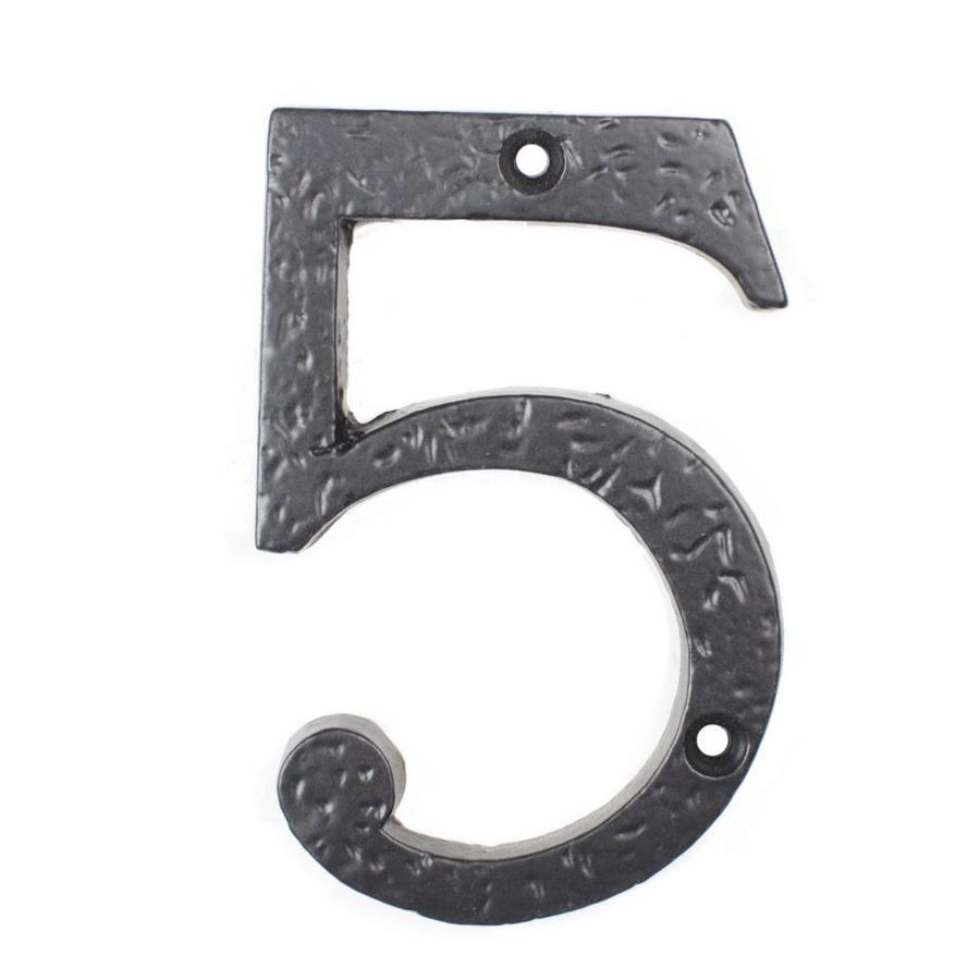 Gietijzeren huisnummer 5, zwart gelakt.