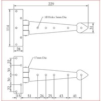 Smeedijzeren scharnier punt 235mm - Pewter