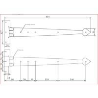 Smeedijzeren scharnier punt 460mm - Pewter