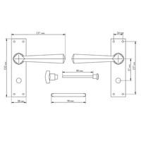 Gietijzeren deurkruk op schild - vrij/bezet
