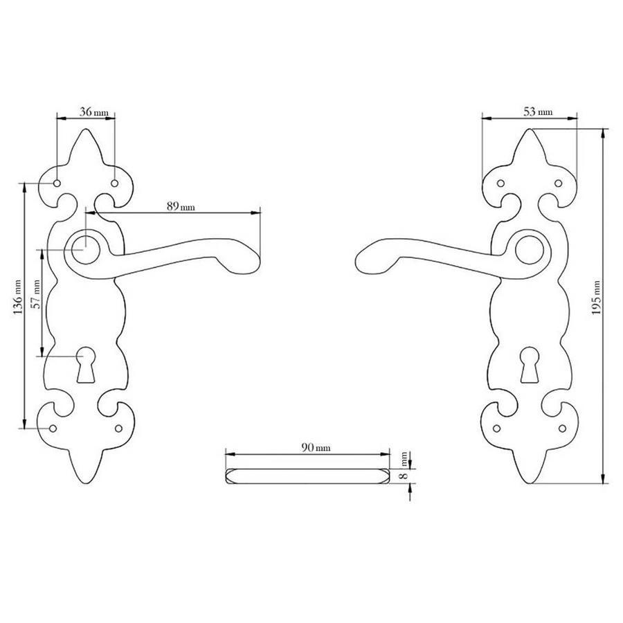 Gietijzeren deurkruk op schild fleur-de-lis - kastslot