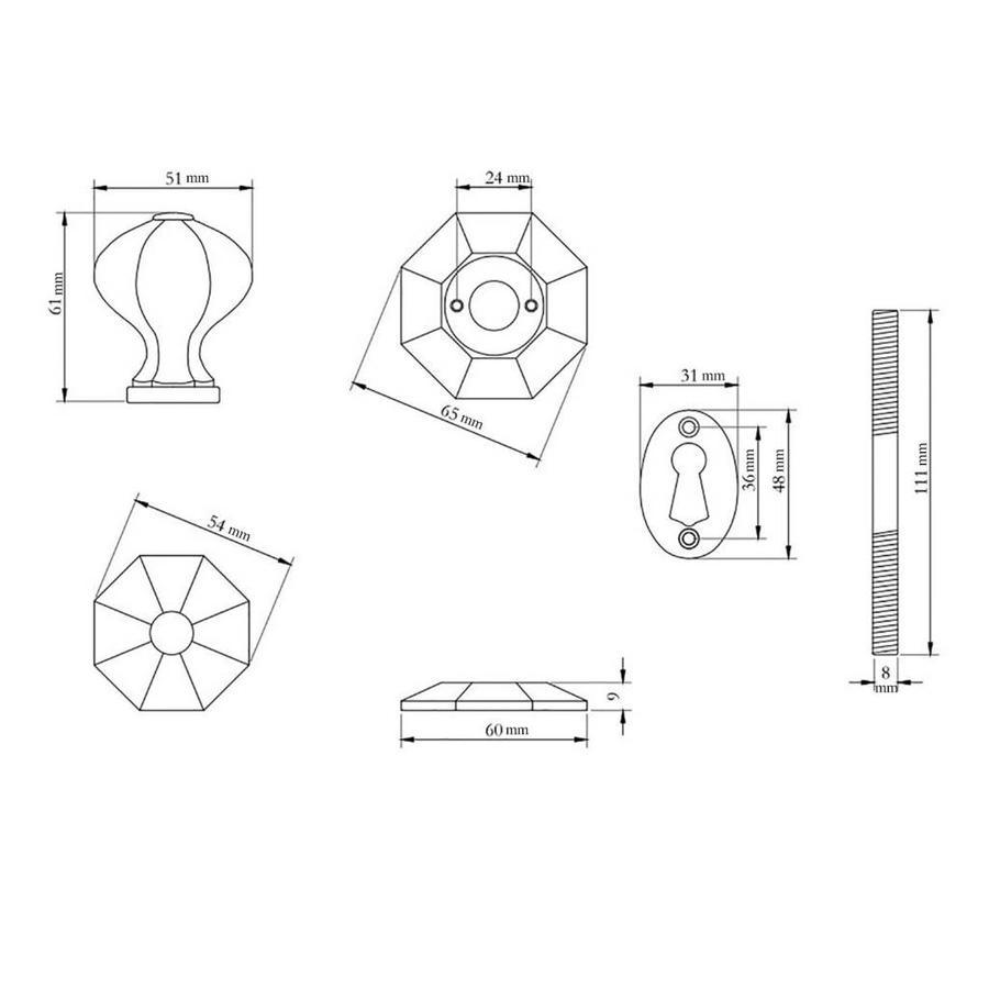 Gietijzeren deurknop achthoek
