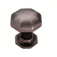 Gietijzeren kastdeurknop 32mm achthoek-pewter effect