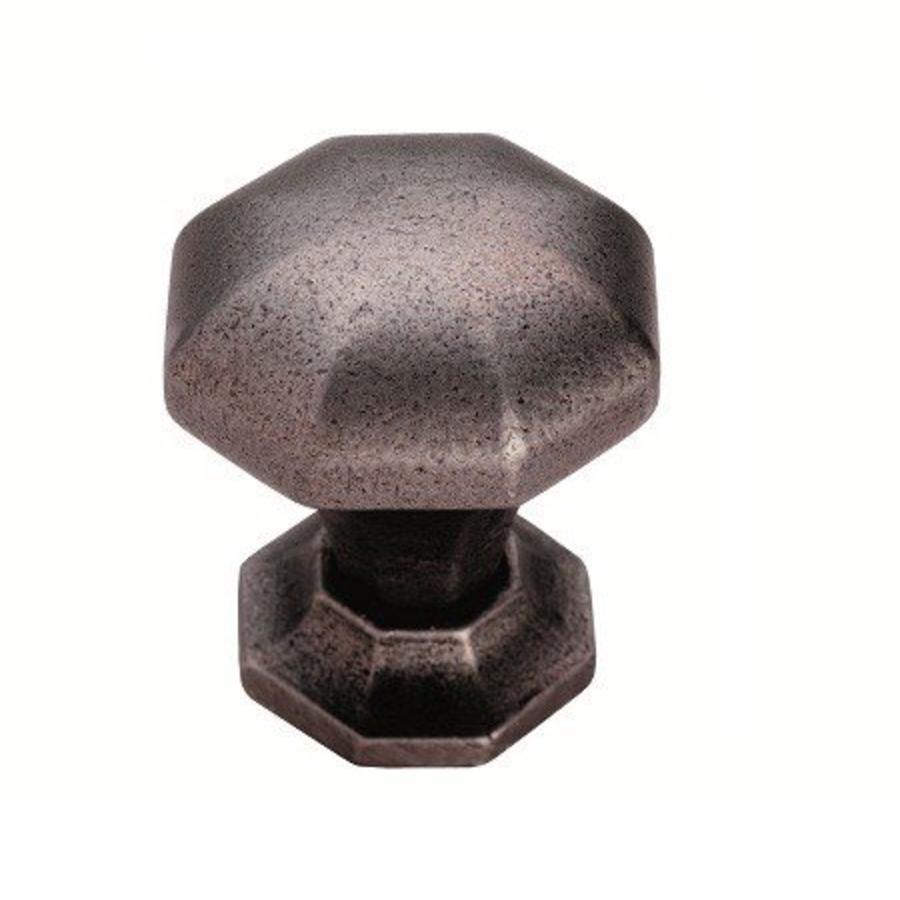 Gietijzeren kastdeurknop 38mm achthoek-pewter effect