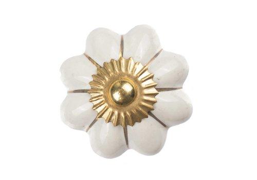 Meubelknop 40mm wit goud bloem