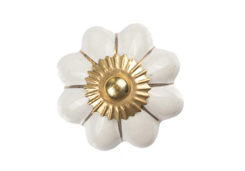 Meubelknop wit goud bloem