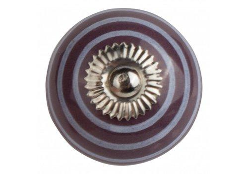 Meubelknop 40mm paars met witte strepen