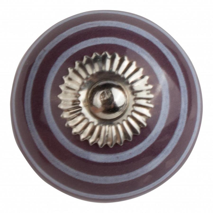Porseleinen meubelknop paars met witte strepen