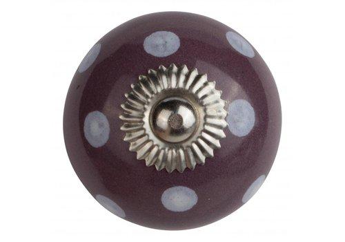 Meubelknop 40mm paars met witte stippels