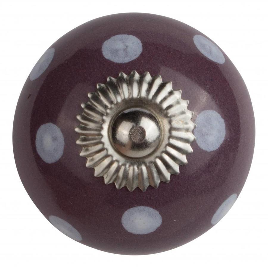 Porseleinen meubelknop paars met witte stippels