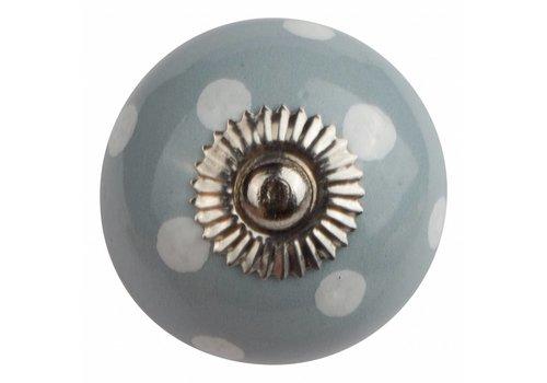 Meubelknop 40mm grijs met witte stippels