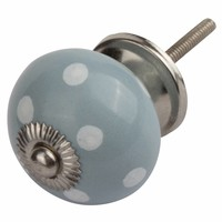 Porseleinen meubelknop grijs met witte stippels