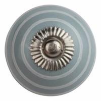 Porseleinen meubelknop grijs met witte strepen