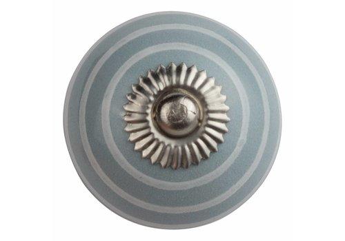 Meubelknop 40mm grijs met witte strepen