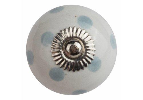 Meubelknop 40mm wit met grijze stippels