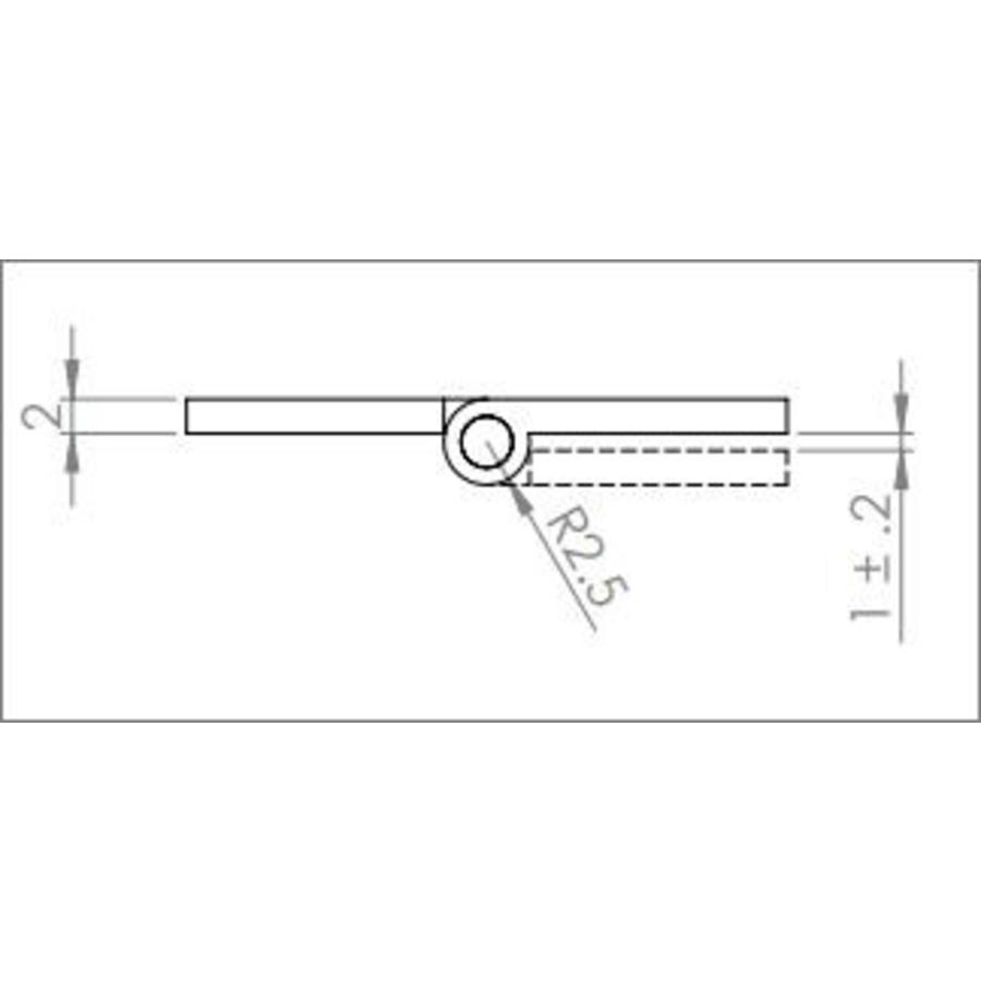 Kast scharnier 64mm met deco scharnierpen in antiek brons, 2 stuks.