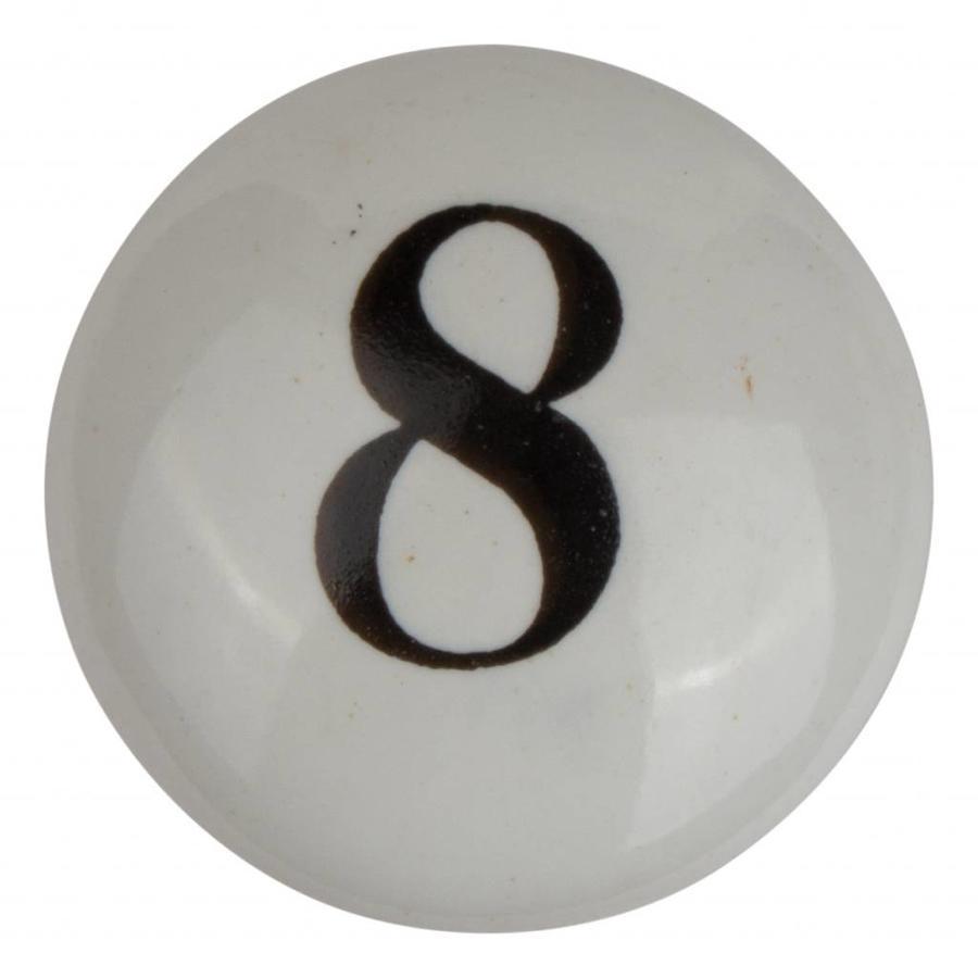 Porseleinen meubelknop nummer 8