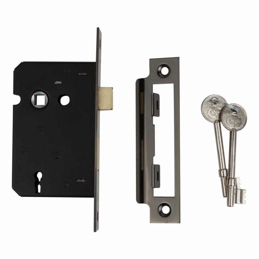 Deurslot met sleutels - zwart, 57mm