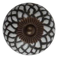 Meubelknop porselein reliëf deco CK5050 - wit zwart