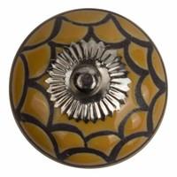 Meubelknop porselein reliëf deco  CK5500 - geel zwart