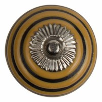 Meubelknop porselein reliëf deco CK5501 - geel zwart