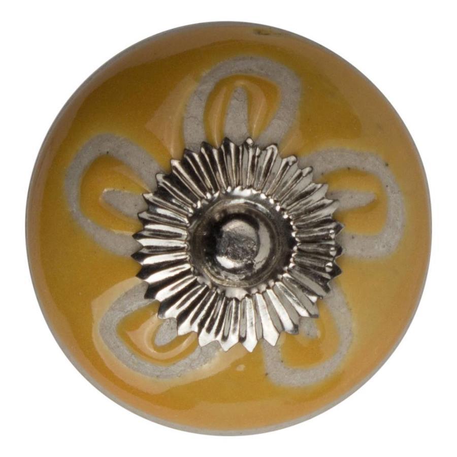 Meubelknop porselein reliëf deco CK5504 bloem geel wit