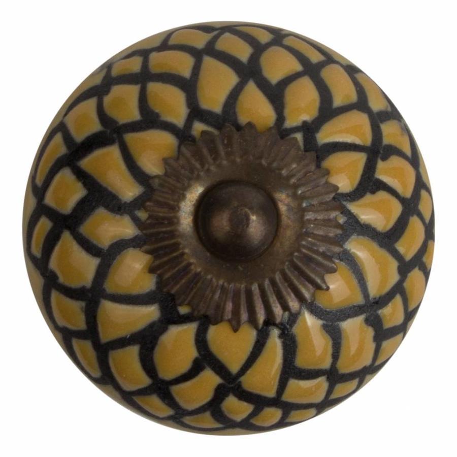 Meubelknop porselein reliëf deco CK5505 - geel zwart