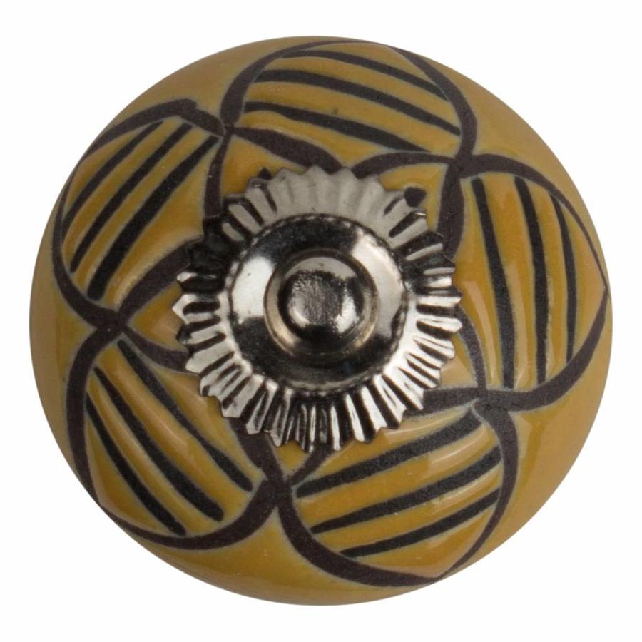 Meubelknop porselein reliëf deco CK5503 bloem geel zwart