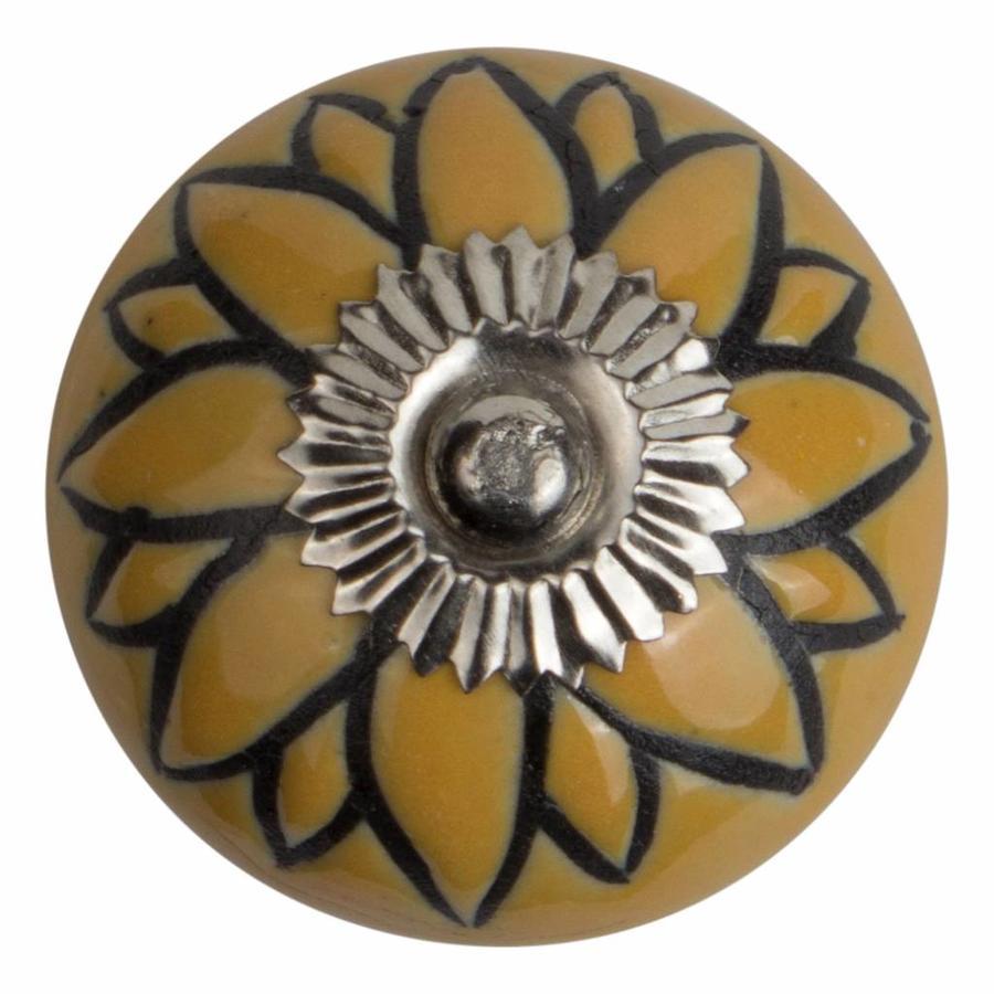 Meubelknop porselein reliëf deco CK5508 bloem geel zwart